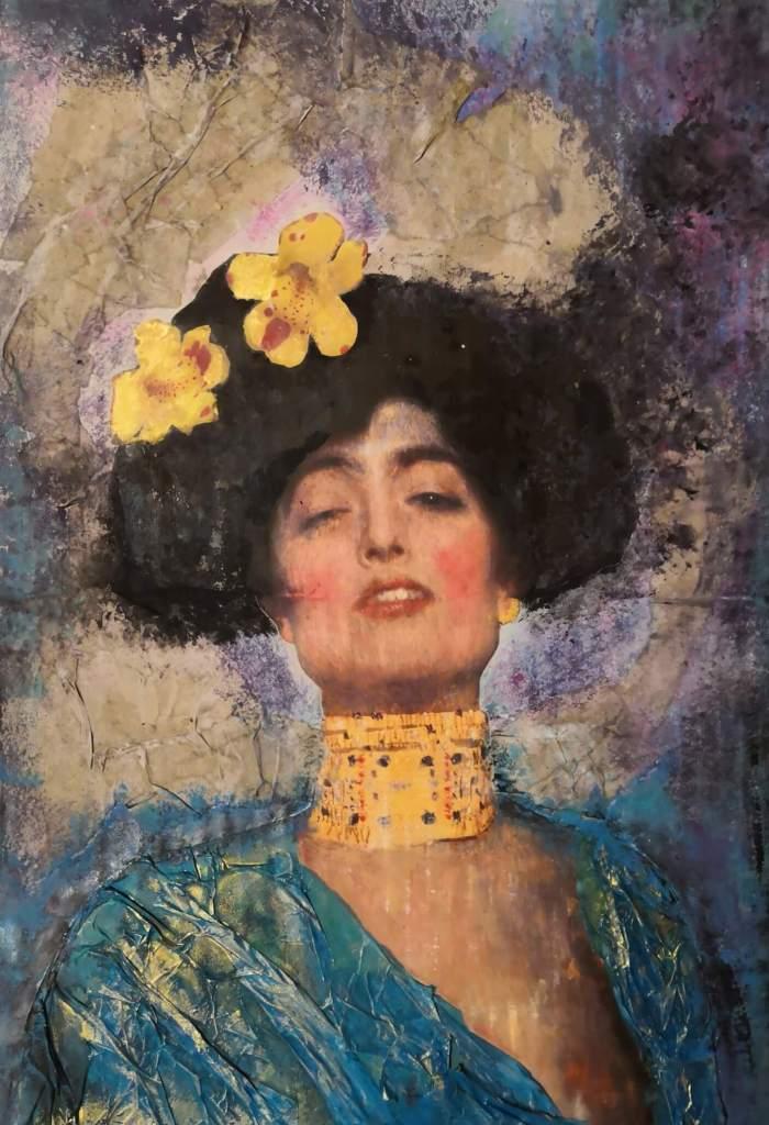 """Collage inspirat en l'obra de Gustav Klimt """"Judith amb el cap de Holofernes"""""""